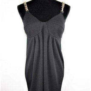 Gathered Black Dress with Gold Chain Straps-s
